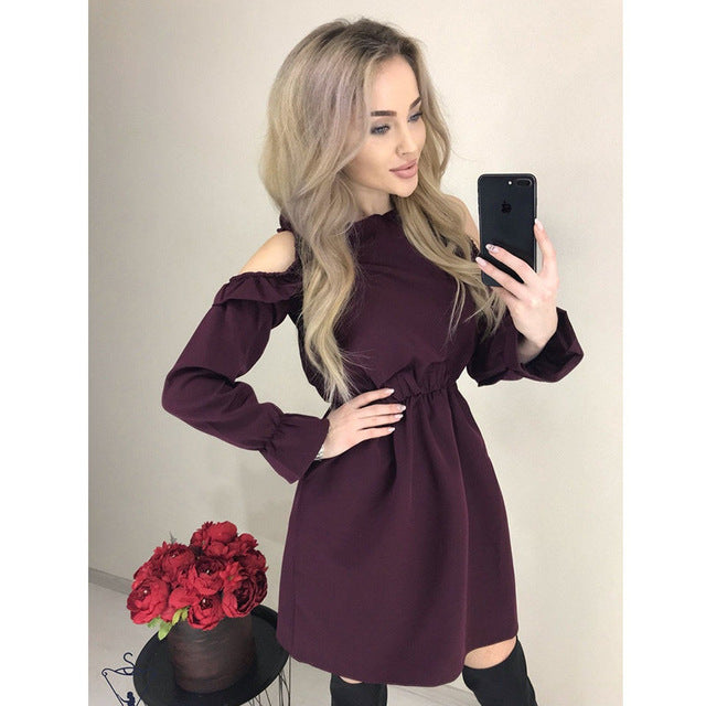 2019 Autumn Women Solid Ruffle Mini Dress Sexy Off Shoulder Long Sleeve Elastic Waist Dress Women Casual A Line Party Dresses