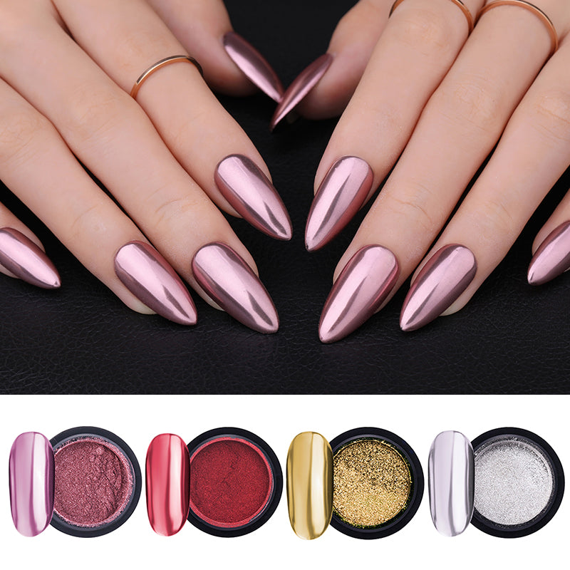 LEMOOC Nail Shimmer Powder Shining Rose Gold Metal Mirror Effect Nail Chrome Pigment Holographic Dust Nail Art Decoration