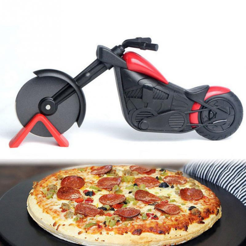 New Motorcycle Shape Stainless Steel Pizza Divider Pizza Tools Pizza Cutter  Roller Tools