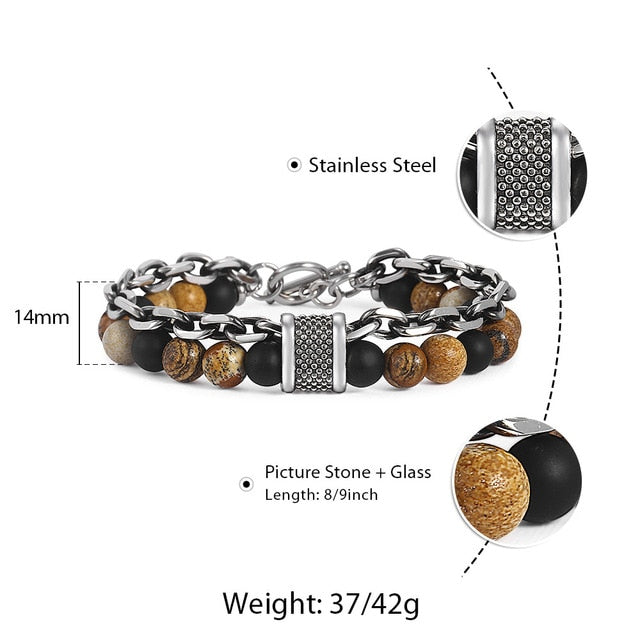 Trendsmax Natural Map Stone Men's Beaded Bracelet for women Stainless Steel Bracelets Male Jewelry Tiger eye 8 9 10 inch DB33