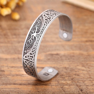 Skyrim Vintage Life Tree Bracelet Viking Cuff Bangle Stainless Steel Zinc Alloy Magnetic Bangles Jewelry Gift for Men Women