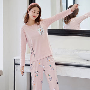 Women pajamas Set Winter pajamas for women New sleepwear Cartoon pijamas Printed pyjamas women Long Sleeve Cute pijama mujer