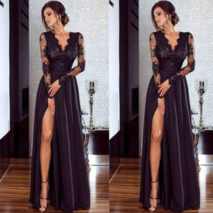 2019 Women Lace Long Sleeve V Neck Dress Evening Party Formal High Waist Maxi Dress