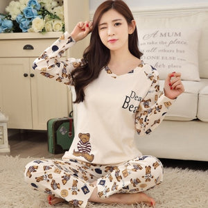 Cartoon Pijamas Women Winter Long-sleeved Sleepwear trousers Large Size Cute Pyjamas Top and Pants Warm Pajama Set