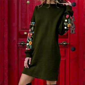 Vintage Floral Print Short Dresses Female Pullover Casual Straight Vestidos Women Autumn Long Sleeve Mini Dress