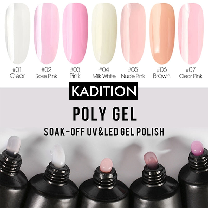 KADITION New Polygel Nail Acrylic Crystal Enhancement Poly Gel Solution Quick Gel Extension LED UV Builder Gel Tips Manicure