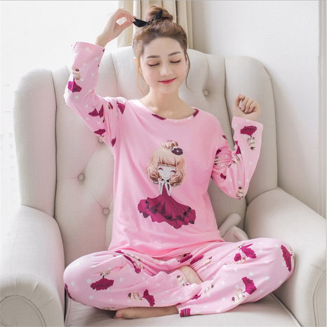 2019 Pyjama Women Pajamas Sets Spring Summer Long Sleeve Thin Print Cute Sleepwear Big Girl Pijamas Mujer Leisure Student Pajama