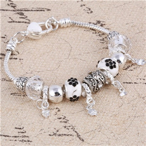 ZOSHI Pink Crystal Charm Silver Bracelets & Bangles for Women With Aliexpress Murano Beads Silver Bracelet Femme Jewelry