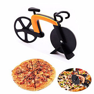 Bicycle Pizza Cutter Wheel Stainless Steel Plastic Bike Roller Pizza Chopper Slicer Kitchen Gadget E2S