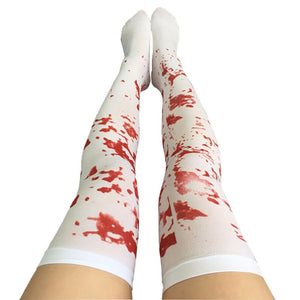 Halloween Decoration Sexy Cosplay Striped Over The Knee Stockings Blood Forked Bone Pattern Women's Cosplay Terror Blood Socks