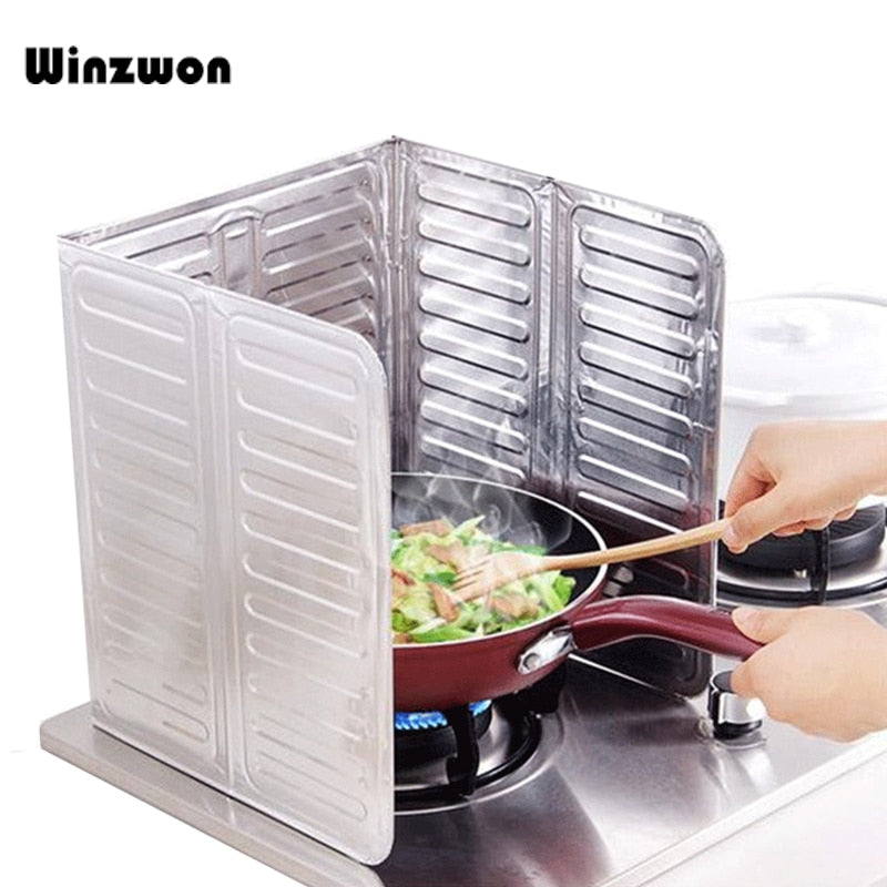 1Pcs Cooking Frying Oil Splash Guard Aluminum Foil Gas Stove Shield Oil Splatter Screen Oil Removal Board Kitchen Tool