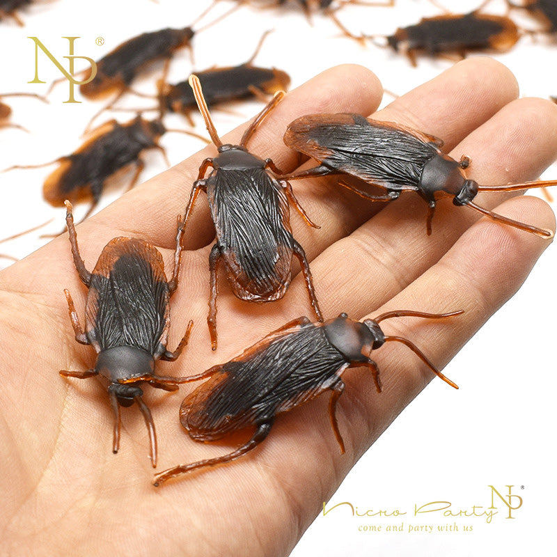 Nicro 12pcs Funny Fake Cockroach Halloween Decoration Jokes Pranks Maker Novelty Tricks Simulation False Cockroach Toys #Oth54