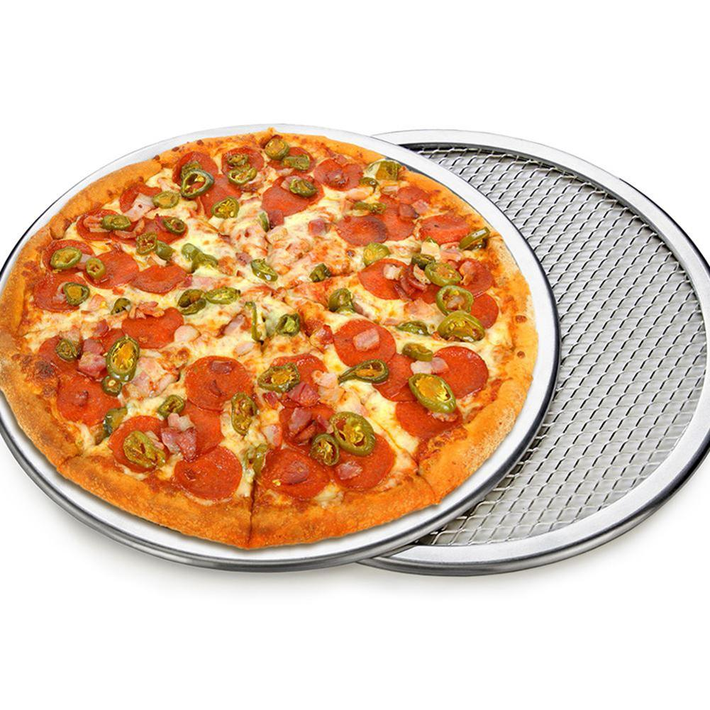 Pizza Tray Mesh Seamless Aluminum Pancake Pizza Screen Baking Tray Metal Net Bakeware Kitchen Baking Tools 6/7/8/9/10/11/12inch