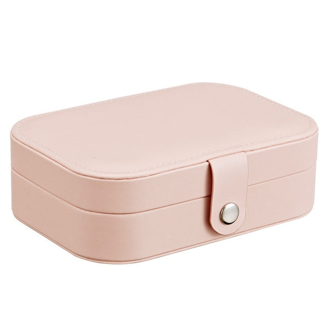 Korean Style Fresh And Simple Girl Earrings Plate Jewelry Box Protable Leather Earrings Ring Multi-function Jewelry Storage Box