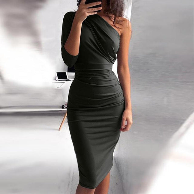 Bigsweety New Sexy One Shoulder Bodycon Party Dresses Elegant Women Casual Midi Sheath Slim Bodycon Dress Package Hip Midi Dress