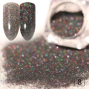 Gradient Shiny Nail Glitter Set Powder Laser Sparkly Manicure Nail Art Chrome Pigment Silver DIY Nail Art Decoration Kit