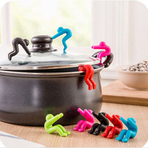 1pc Creative Man Anti-overflow Pot Rack Silicone Multi-functional Phone Bracket Universial Home Kit Kitchen Cooking Tool Holder