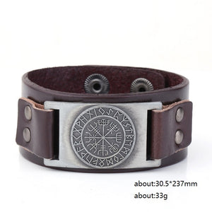 Skyrim Vintage Viking Compass Genuine Leather Bracelet for Man Bangle Nordic Runes Odin Symbol Wrap Jewelry Accessories