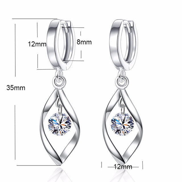 Minimalist Luxury Real Pure 925 Sterling Silver Earrings Danging Marquise Cut Cut Clear Cubic Zirconia Earnings Brincos SE004