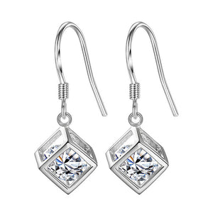 Minimalist Real Pure 925 Sterling Silver 3D Cube Earrings Hoop Female Crystal Geometric Hanging Earnings Girls SE056