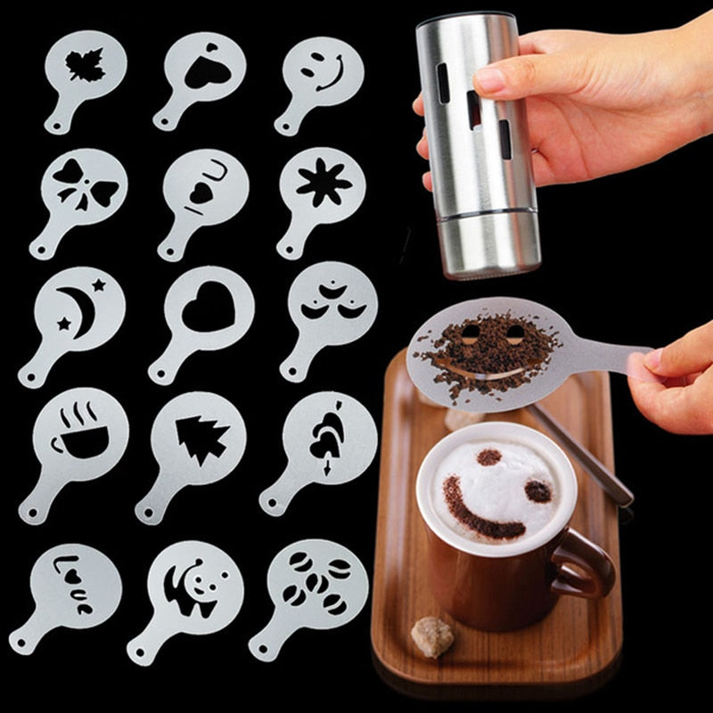 8/12/16Pcs/Set Coffee Drawing Model Creative Cappuccino Foam Spray Printing Flower Mold Kitchen Accessories Plastic Cooking Tool