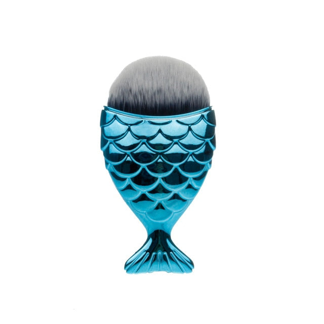 FLD 1Pcs Professional Mermaid Shape Makeup Brush Foundation Cosmetic Fish Brush Makeup Tools Kit Powder Face Blush Brush