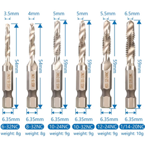 50% OFF 6 PIECE THREAD TAP DRILL BITS SET(METRIC/US(SAE)/IMPERIAL UNITS)
