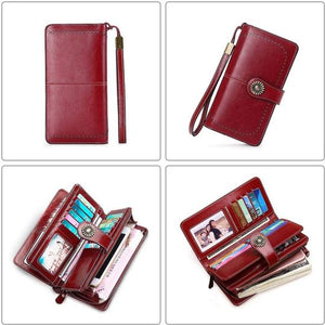 Anti-RFID Luxury Women Leather Wallet