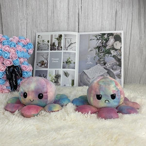 Reversible octopus plush toy , double sided emotion octopus plushies