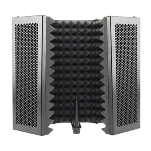 5 Panel Foldable Studio Microphone | Isolation Shield Recording Sound Absorber | Foam Panel
