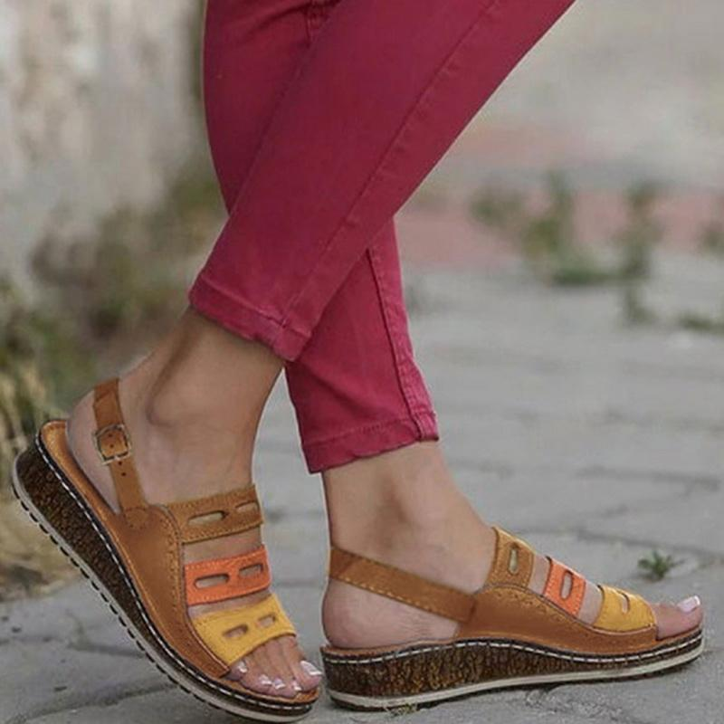 2019 Three-Colour Stitching Woman's Summer Sandals - Secret Lake Store