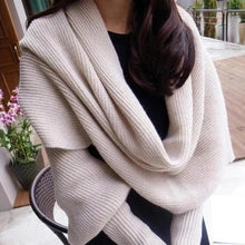 Load image into Gallery viewer, Crochet Sweater Scarf With Sleeves