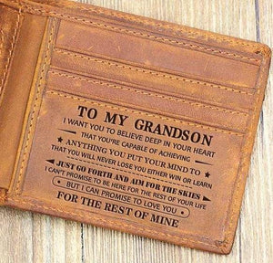 To My GrandSon Leather Wallet
