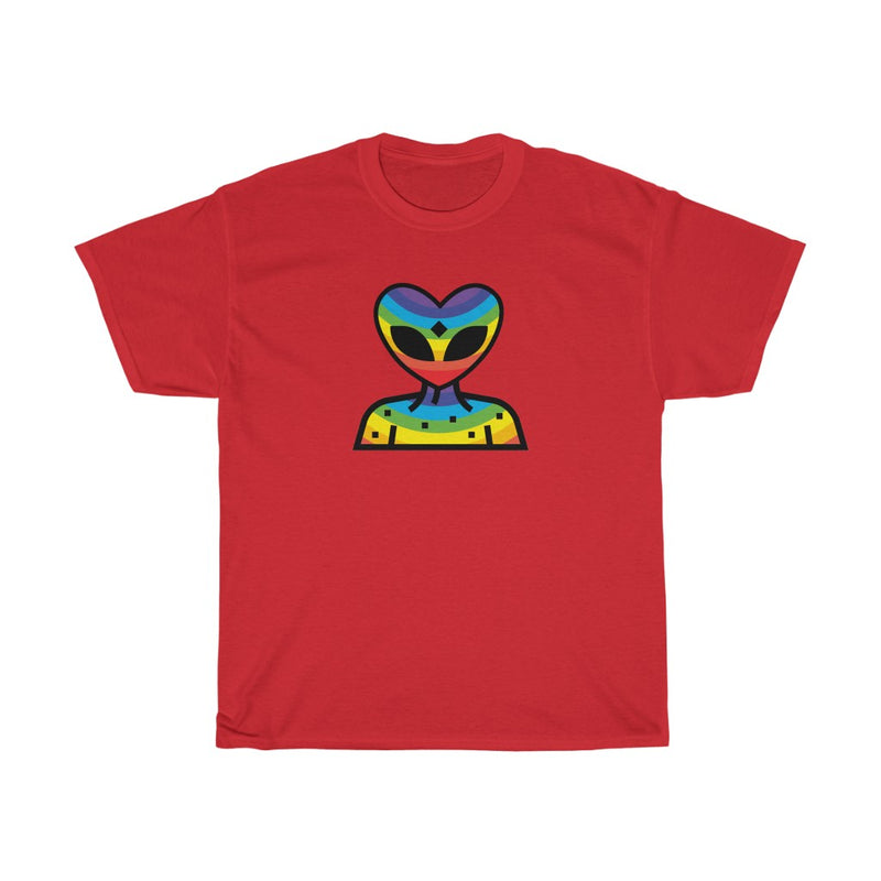 Rainbow Alien Being Unisex Heavy Cotton Tee