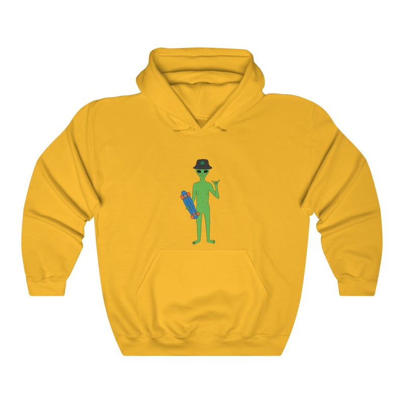 Alien Skater Dude | Unisex Heavy Blend™ Hooded Sweatshirt | Big K Draws