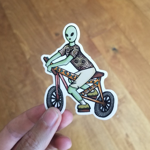 1 Alien Bicycle | Transparent Vinyl 3 Inch Sticker | Savage Bliss