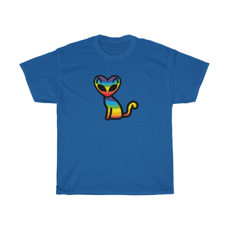 Rainbow Alien Cat Unisex Heavy Cotton Tee