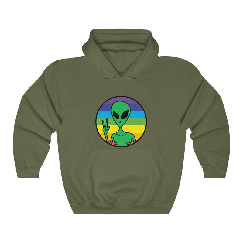 Peace Rainbow Alien Unisex Heavy Blend™ Hooded Sweatshirt