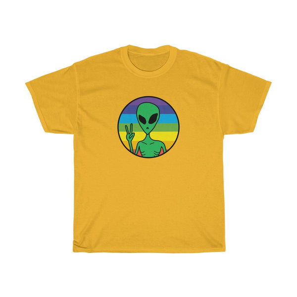 Peace Rainbow Alien Unisex Heavy Cotton Tee