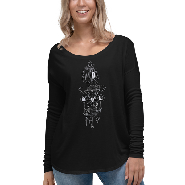 Interplanetary Geometry 1 - Ladies' Long Sleeve Tee