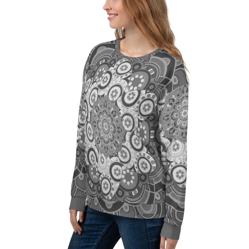 Starflower Mandala (Black & Grey) - Unisex Sweatshirt