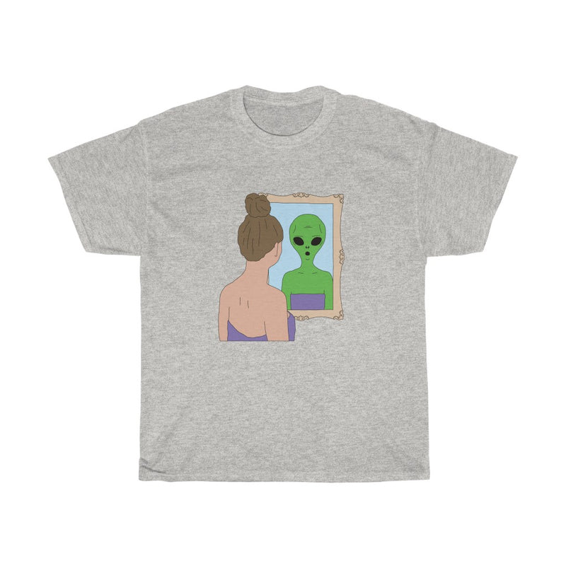 Alien Mirror | Unisex Heavy Cotton Tee | Big K Draws