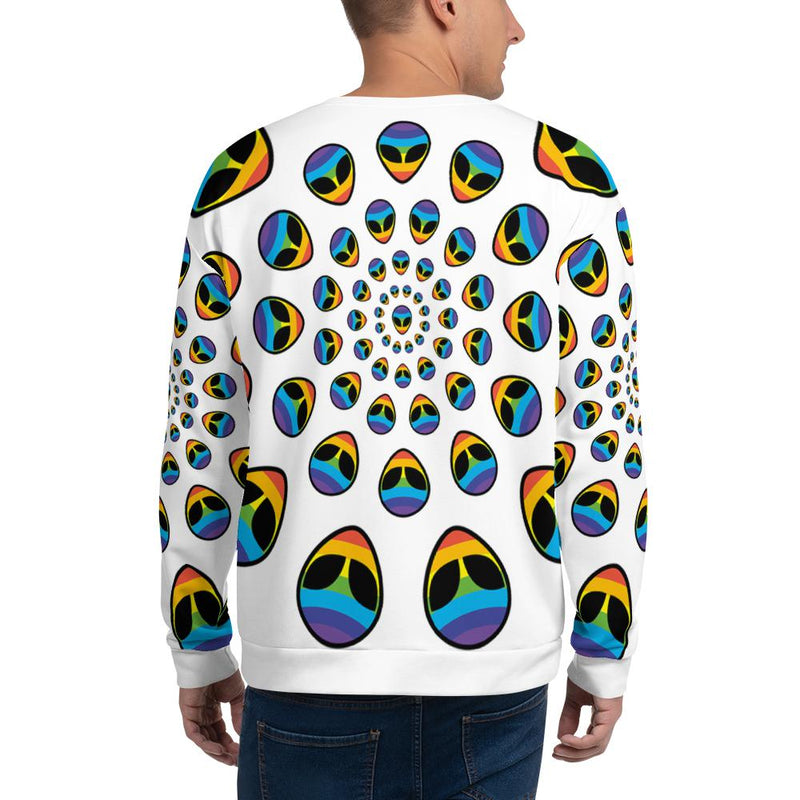 Alien Clothing - Rainbow Alien All Over Sweatshirt | Unisex | White - Alien Symbology