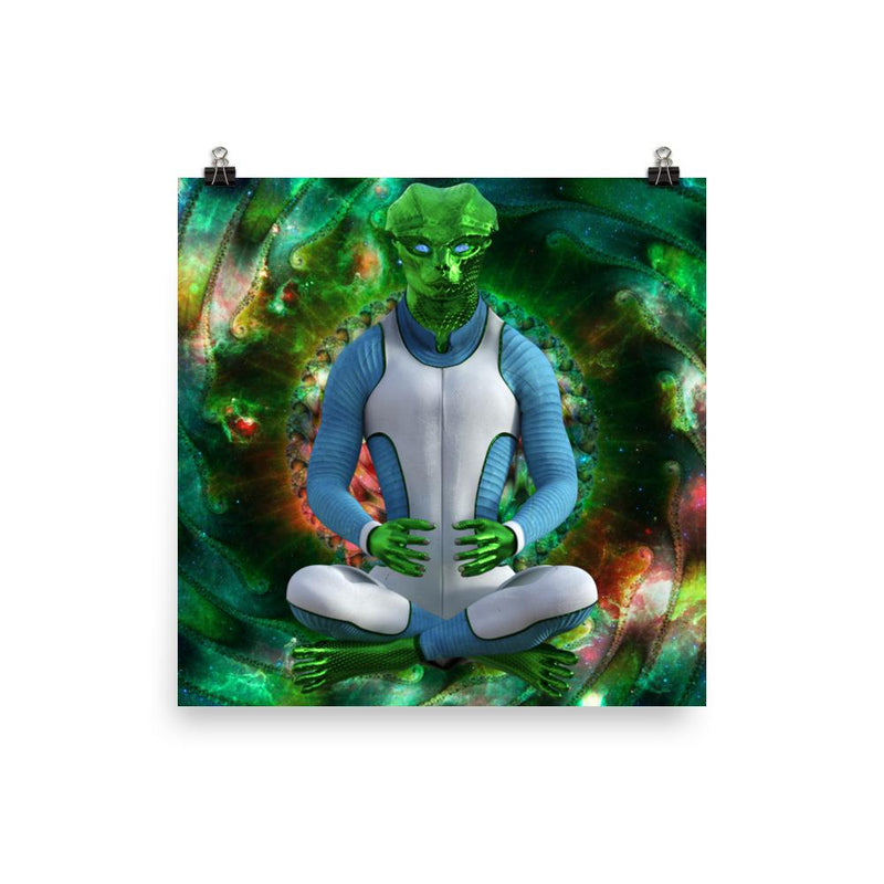 Alien Clothing - Space Reptile Fractal Zen Alien Poster - Alien Symbology
