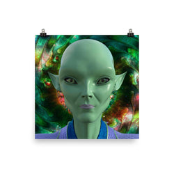 Alien Clothing - Yuki Fractal Space Portrait Alien Poster - Alien Symbology