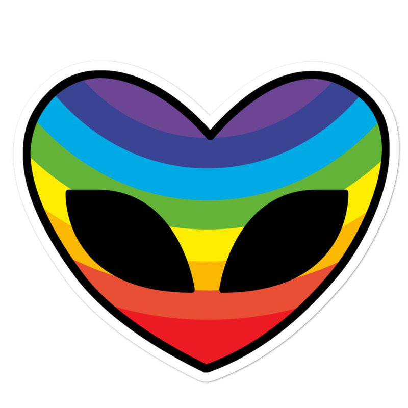 Alien Clothing - Rainbow Heart Alien Sticker - Bubble-free stickers - Alien Symbology