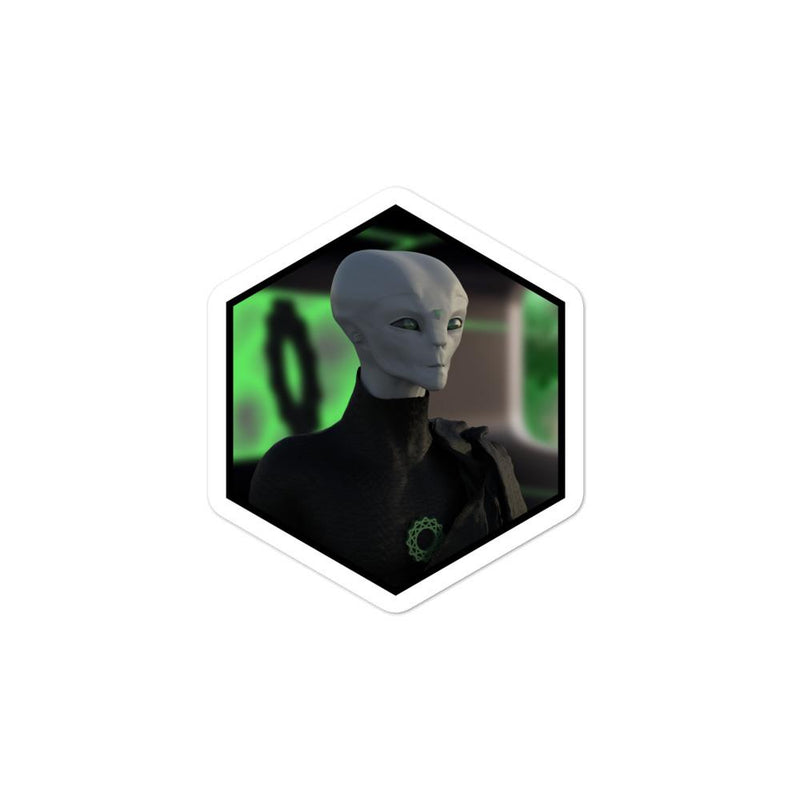 Alien Clothing - Zylok Portrait Alien Sticker Bubble-free stickers - Alien Symbology