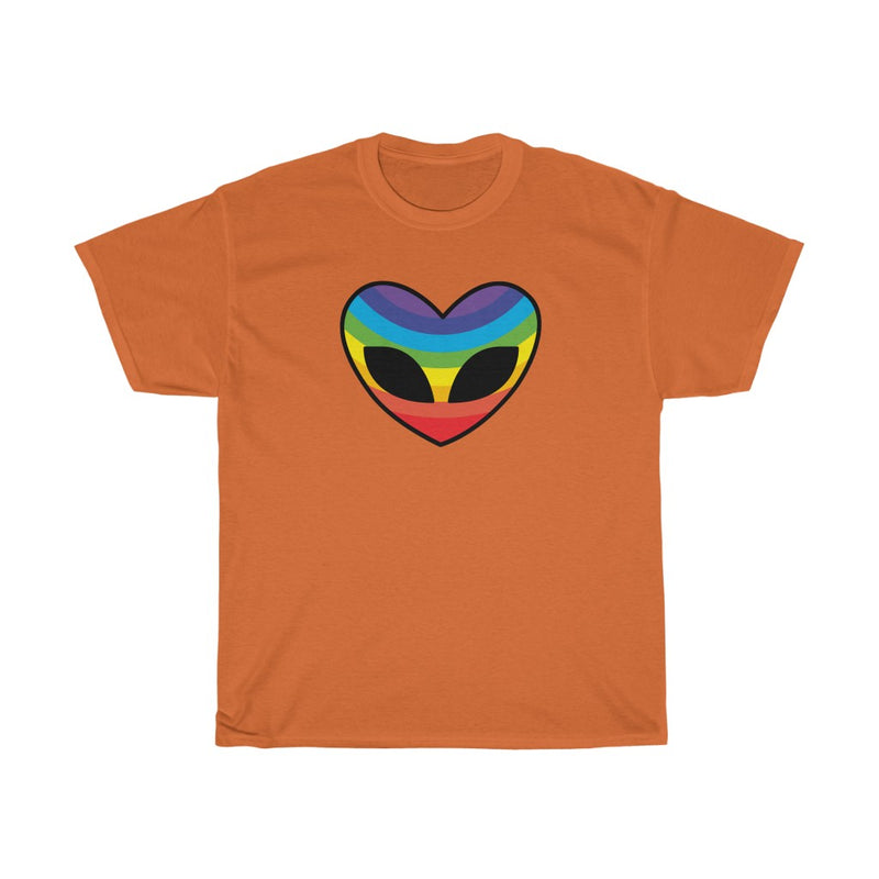 Heart Rainbow Alien Unisex Heavy Cotton Tee