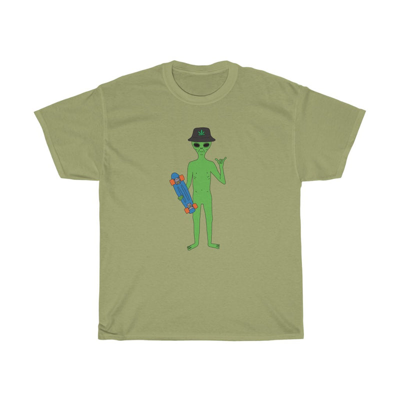 Alien Skater Dude | Unisex Heavy Cotton Tee | Big K Draws