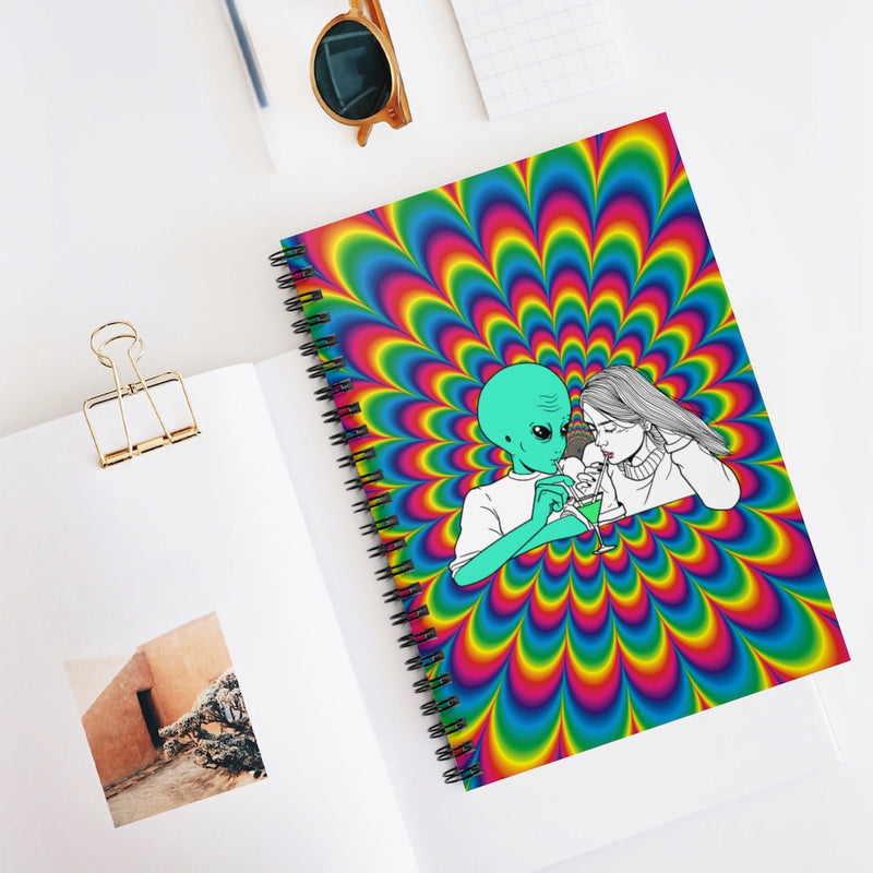 Alien Cocktail | Spiral Notebook - Ruled Line | Alicia In Space
